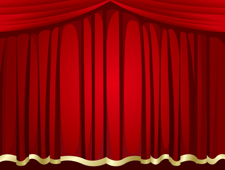 Red curtains background Vector Illustration