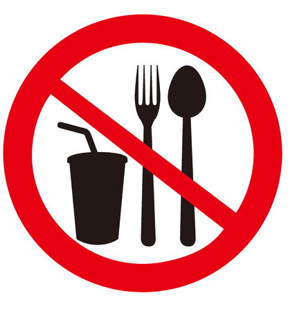 not allowed: No eat and drink signs