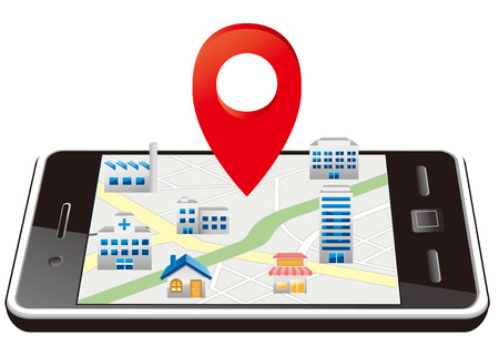 Markers on Smart phone with map Vector Vector