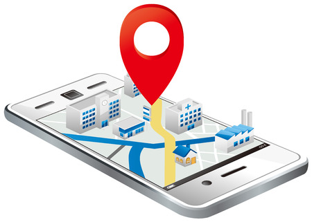 gps device: Markers on Smart phone with map Vector