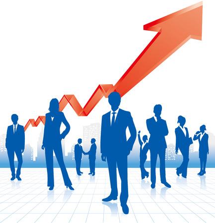 ビジネスの方々 & グラフ ベクトル  イラスト・ベクター素材