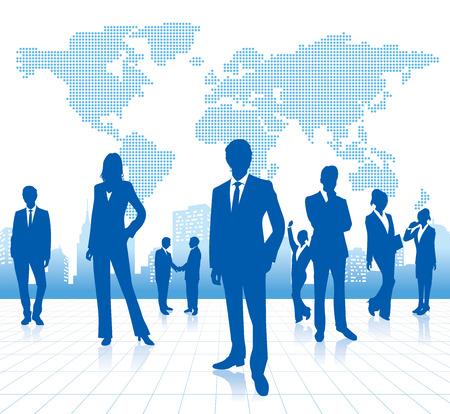 世界地図ベクトルを持つビジネス人々
