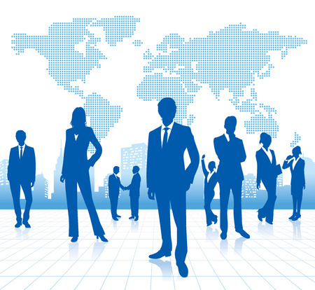 connect people: business people with world map Vector