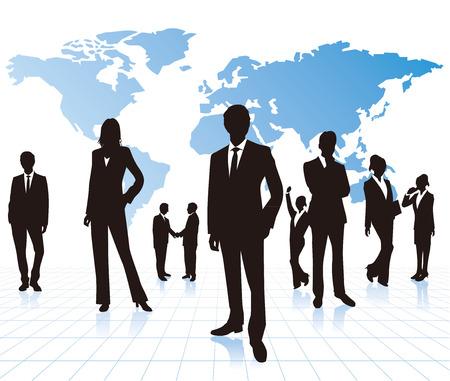 Gente de negocios con mapa del mundo Vector Foto de archivo - 35964619