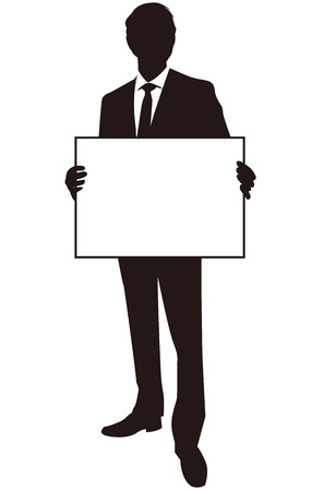 businessman holding white board Vector Vector
