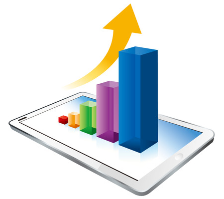 dimensionally: digital tablet graph Vector