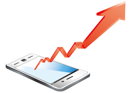 dimensionally: smart phone graph Vector Illustration