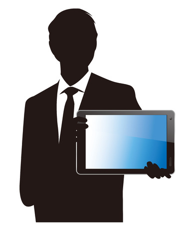 ベクトルのタッチ スクリーンを持ったビジネスマン