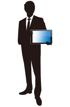 a touch: Businessman with touch screen Vector