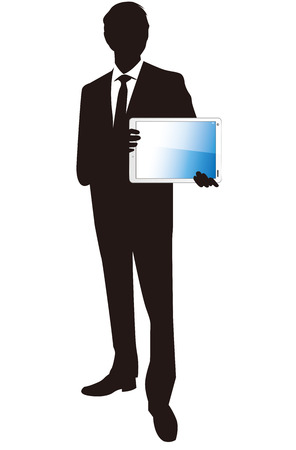 touch: Businessman with touch screen Vector