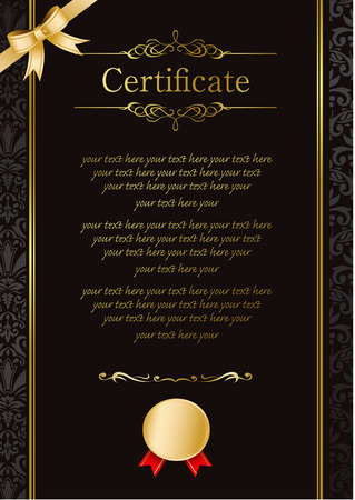 certificate  calligraphy: retro frame certificate template Vector