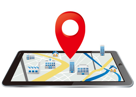 communicatio: Markers on digital tablet with map Vector Illustration