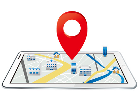 electronic guide: Markers on digital tablet with map Vector Illustration