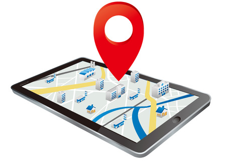 Markers on digital tablet with map Vector Illustration