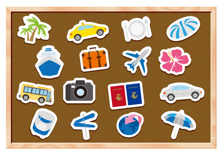 excursions: tourism icons on wooden board Vector