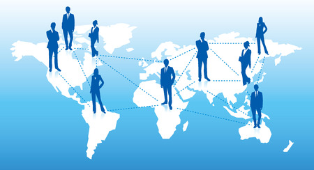 social networking service: World map Social networking service Vector Illustration