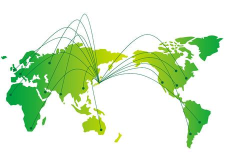 japan map network Vector Vettoriali