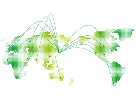 foreign country: japan map network Vector Illustration