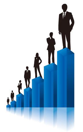 team effort: business people  Vector graph