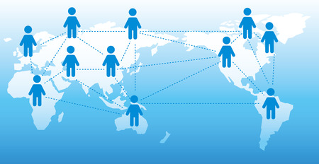 social networking: World map Social networking service Vector Illustration