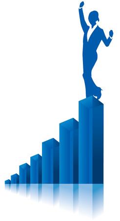 女性実業家: ビジネス女性グラフ グラフ ベクトル