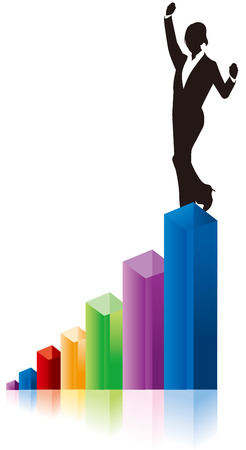 woman stairs: business woman chart graph Vector