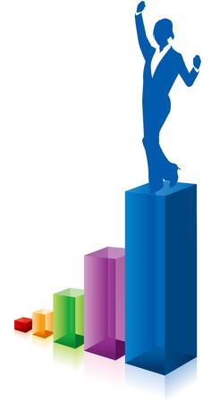 business woman: business woman chart graph Vector
