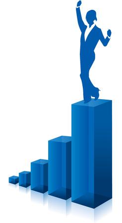 business woman chart graph Vector
