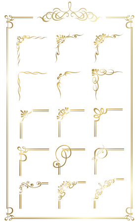 Oro frame set vector Foto de archivo - 42557646