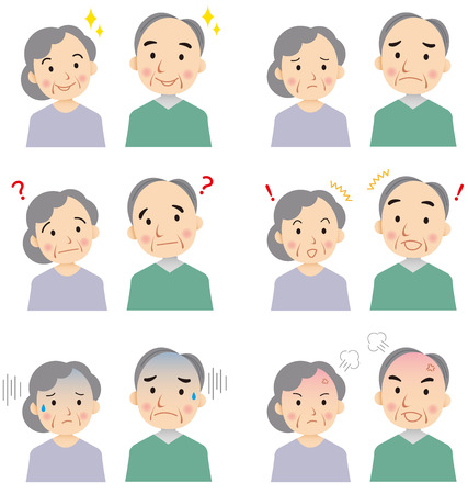 asian: senior faces Vector