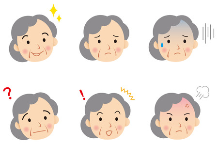 adult oops: senior face Vector