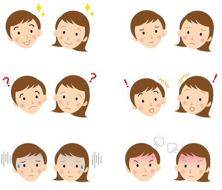 asian couple: young  faces Vector Illustration