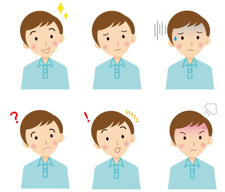 expresiones faciales: rostro joven vectorial