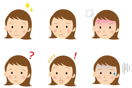 oops: young  face Vector