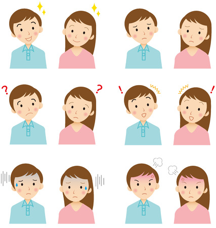 young  faces Vector  イラスト・ベクター素材