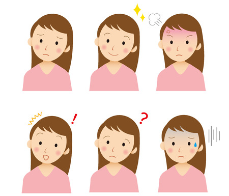 surprised: young  face Vector