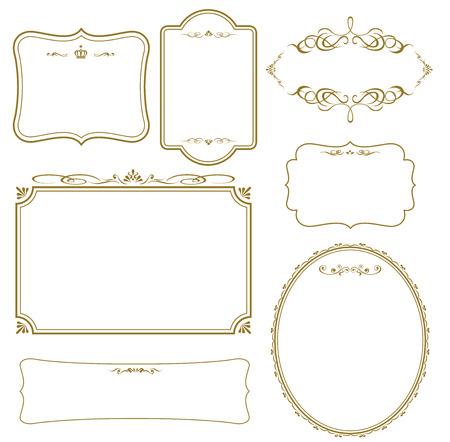 Oro frame set vector Foto de archivo - 43318496