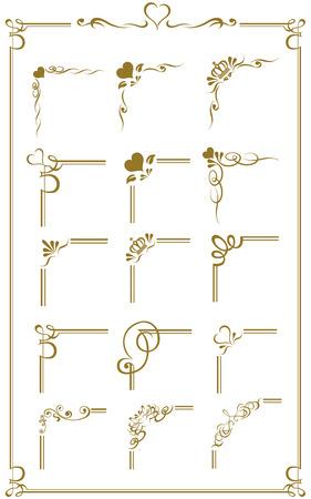 Oro frame set vector Foto de archivo - 43896232