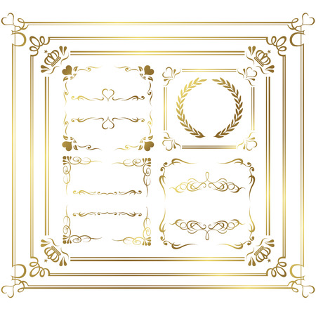 gold frame set Vector