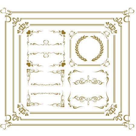 Oro frame set vector Foto de archivo - 43896247