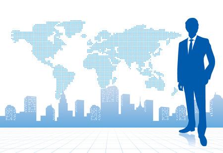 世界地図ベクターを持ったビジネスマン  イラスト・ベクター素材