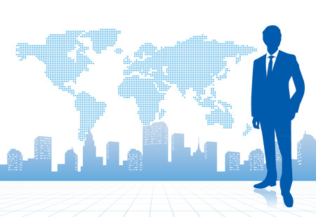 world group: businessman with world map Vector