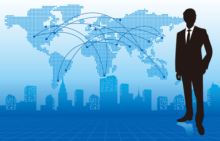 businessman with world map Vector Banco de Imagens - 46283664