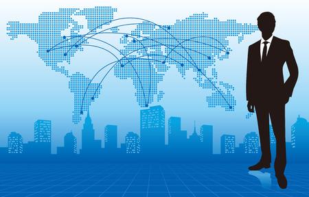 zakenman met kaart van de wereld Vector
