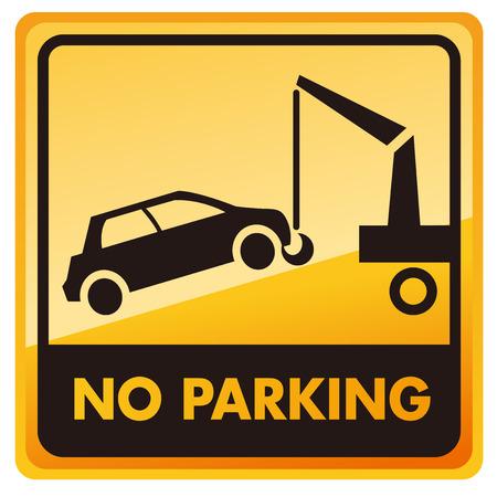 illegal zone: no car no parking sign Vector