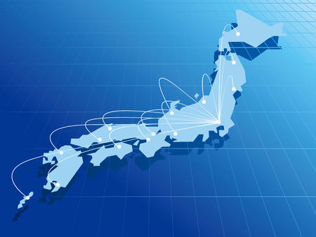 japan Map Network Vector