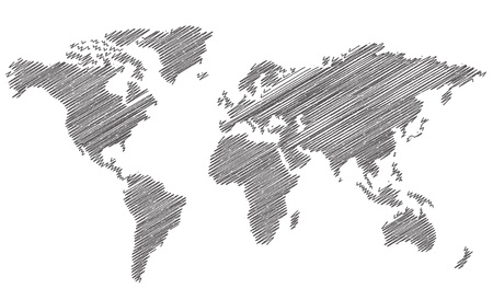世界地図はベクトルをスケッチします。