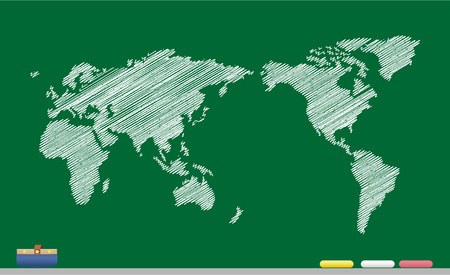south asia: World map sketch Vector Illustration
