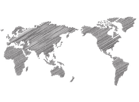World map sketch Vector  イラスト・ベクター素材