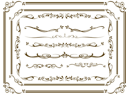 decorative gold frame set Vector Stok Fotoğraf - 47257107